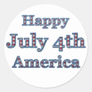 KRW Happy Fourth of July America Round Sticker
