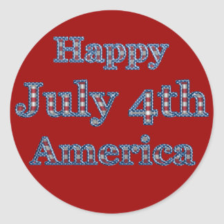 KRW Happy Fourth of July America Classic Round Sticker
