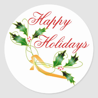 KRW Happy Holidays Holly Classic Round Sticker