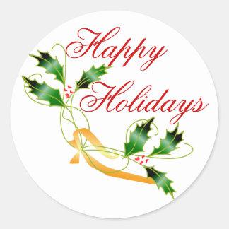 KRW Happy Holidays Holly Round Sticker