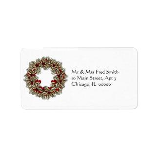 KRW Happy Holidays Wreath Christmas Label Address Label