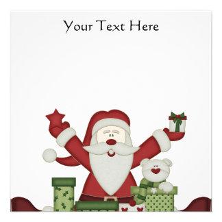 KRW Happy Santa Holiday Square Custom Invitation