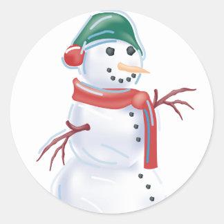 KRW Happy Snowman Holiday Classic Round Sticker