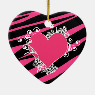 KRW Heart and Swirls Zebra Black and Pink Keepsake Christmas Ornament