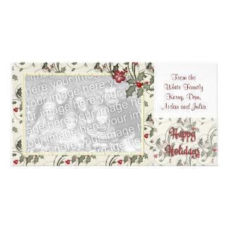 KRW Holly Frame Custom Holiday Photo Card