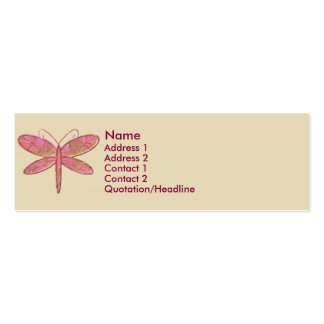 KRW Hot Pink Dragonfly Profile Card Pack Of Skinny Business Cards