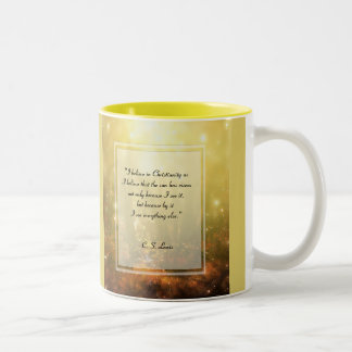 KRW I Believe in Christianity Quote Two-Tone Coffee Mug