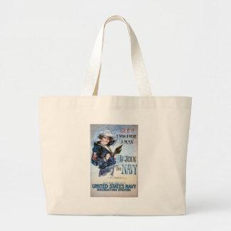 KRW I Wish I Were a Man Vintage Poster Jumbo Tote Bag