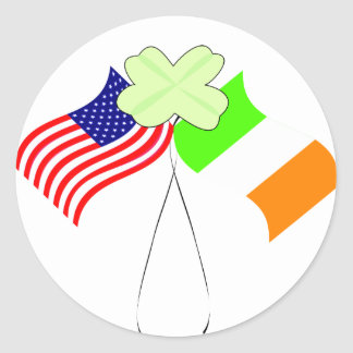 KRW Irish American Flags and Shamrock Classic Round Sticker