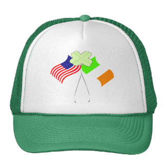 KRW Irish American Flags and Shamrock Mesh Hat