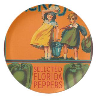 KRW Jack & Jill Peppers Vintage Veggie Label Plate