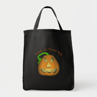 KRW Jack O Lantern Halloween Trick or Treat Grocery Tote Bag