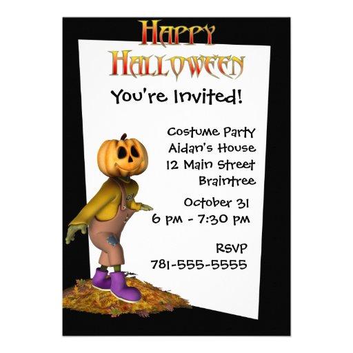 KRW Jack Scarecrow Custom Halloween Invitation