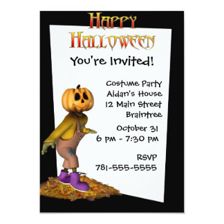 KRW Jack Scarecrow Custom Halloween Invitation