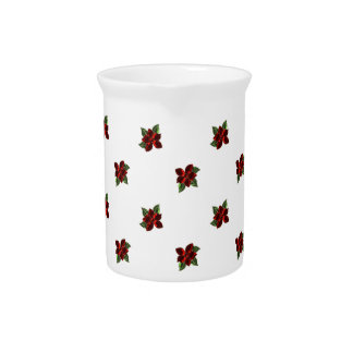 KRW Jeweled Poinsettia Holiday Pitcher