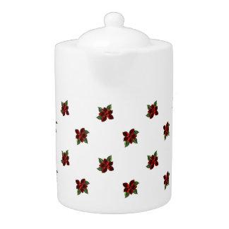 KRW Jeweled Poinsettia Holiday Tea Pot