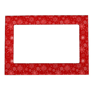 KRW Lacy White Snowflake Christmas Red Photo Frame Magnetic Photo Frame
