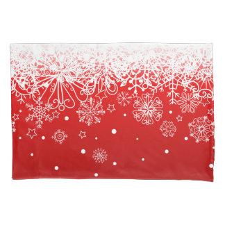 KRW Lacy White Snowflake Christmas Red Pillow Case