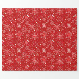 KRW Lacy White Snowflakes on Red Wrapping Paper