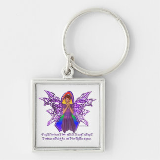 KRW LGBT Acceptance Red Head Faery Silver-Colored Square Key Ring