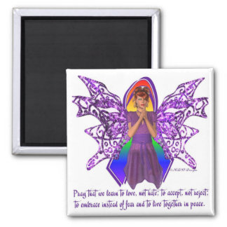 KRW LGBT Acceptance Red Head Fairy Square Magnet