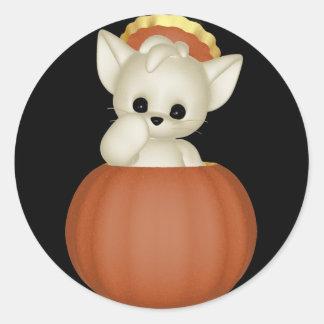 KRW Lil Scardy Cat Halloween - Customized Classic Round Sticker