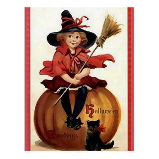 KRW Little Witch Vintage Halloween Postcards