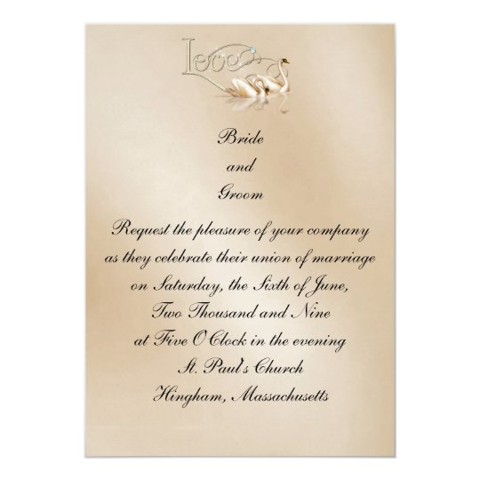 KRW Love Swans Custom Wedding Invitation