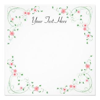 KRW Lovely Pink Floral Square Custom Invitation