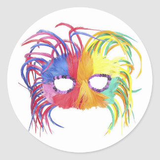 KRW Mardi Gras Feather Mask Round Sticker