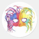 KRW Mardi Gras Feather Mask Round Stickers