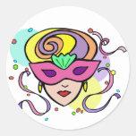 KRW Mardi Gras Festival Mask Round Sticker