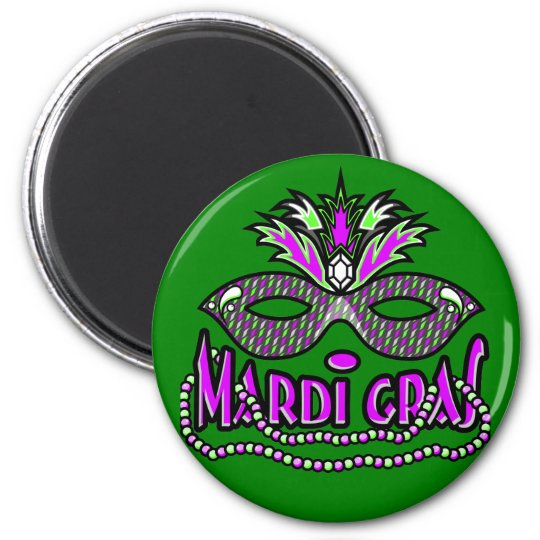 KRW Mardi Gras Mask and Beads 6 Cm Round Magnet