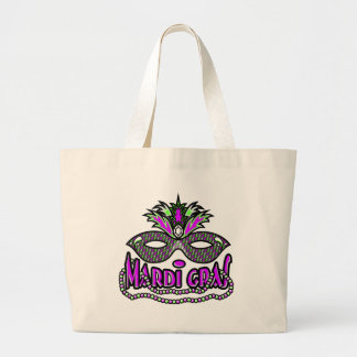 KRW Mardi Gras Mask and Beads Large Tote Bag