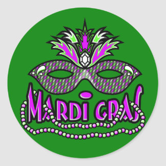 KRW Mardi Gras Mask and Beads Round Sticker