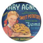 KRW Mary Agnes Yams Vintage Vegetable Label Plate