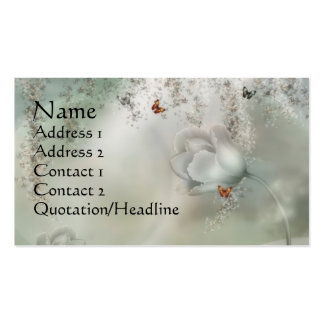 KRW Misty Gray Floral with Orange Butterflies Business Card Template