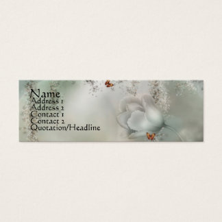 KRW Misty Gray Floral with Orange Butterflies Mini Business Card
