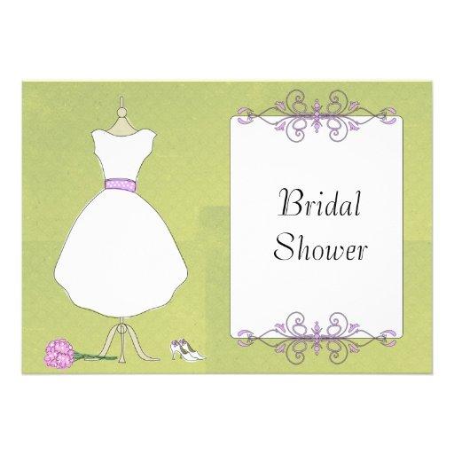 Krw modern wedding dress bridal shower invitations zazzle for Modern bridal shower invitations