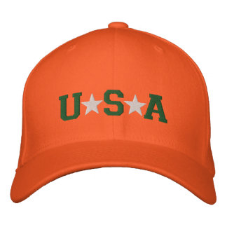 KRW Orange Green and White USA Stars Embroidered Baseball Cap