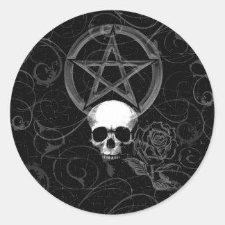 KRW Pagan Grunge Skull Round Sticker