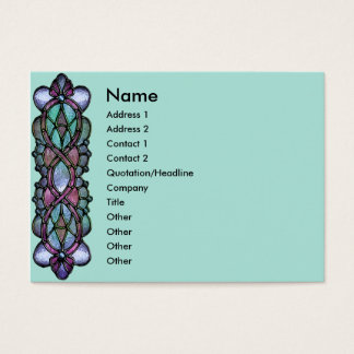 KRW Pale Teal Stained Glass Border Business Card