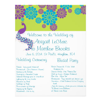 KRW Peacock Floral Custom Wedding Program Flyer