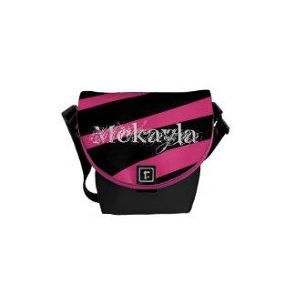 KRW Pink and Black Diva Zebra Name Small Bag Messenger Bag