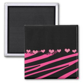 KRW Pink and Black Zebra Diva Hearts Magnet