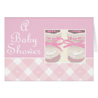 KRW Pink Booties Custom Baby Shower Invitation Stationery Note Card