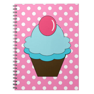 KRW Pink Dots and Blue Cupcake Notebook