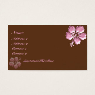KRW Pink Hibiscus and Chocolate Elegant Business Card