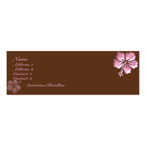 KRW Pink Hibiscus and Chocolate Elegant Business Card Template