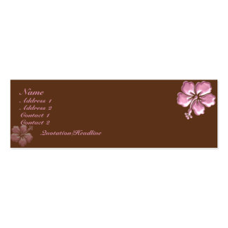 KRW Pink Hibiscus and Chocolate Elegant Pack Of Skinny Business Cards